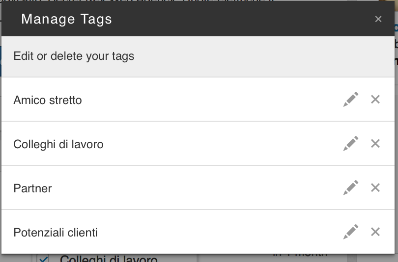 tags manage
