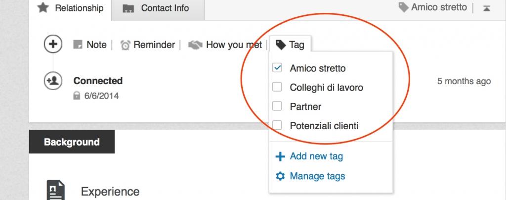 sezione tag relationship