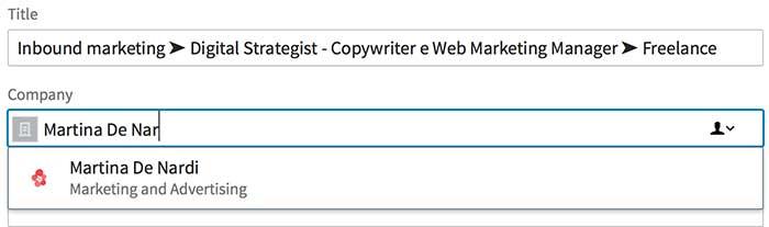 scrivere pagina aziendale profilo
