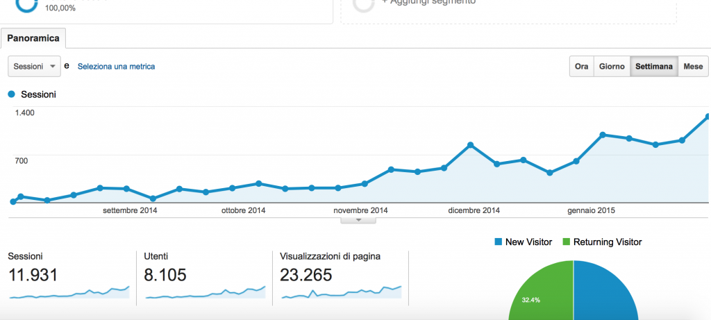 Panoramica sito da Google Analytics
