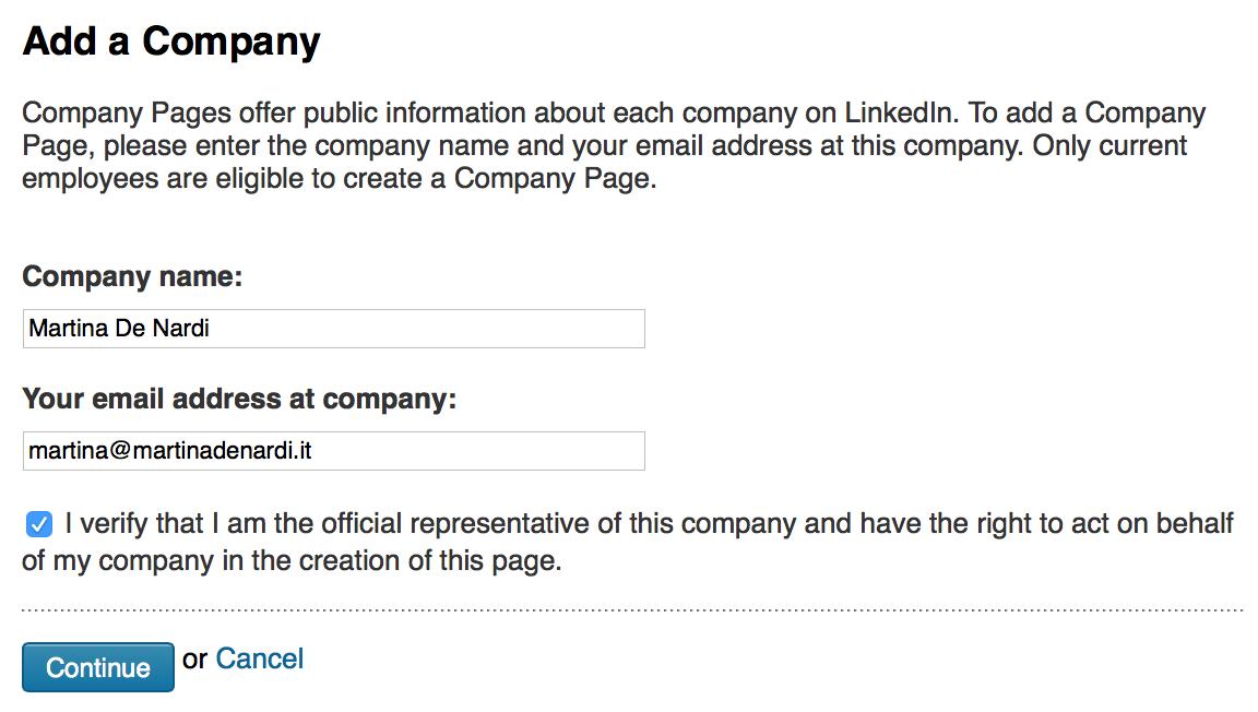 Immetti il nome azienda per continuare