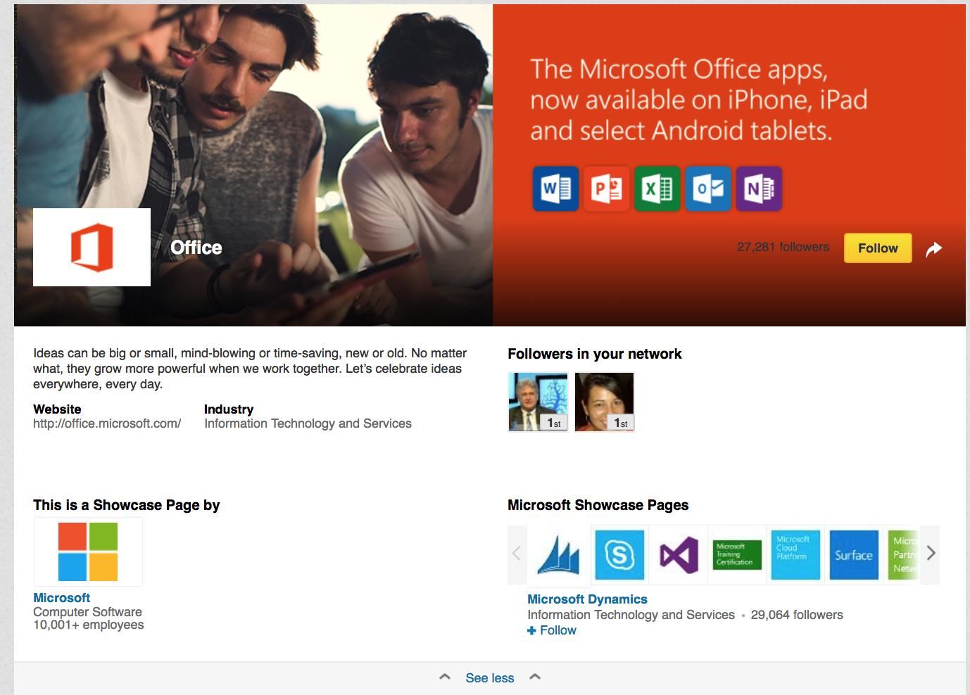 Pagina Vetrina di Microsoft office