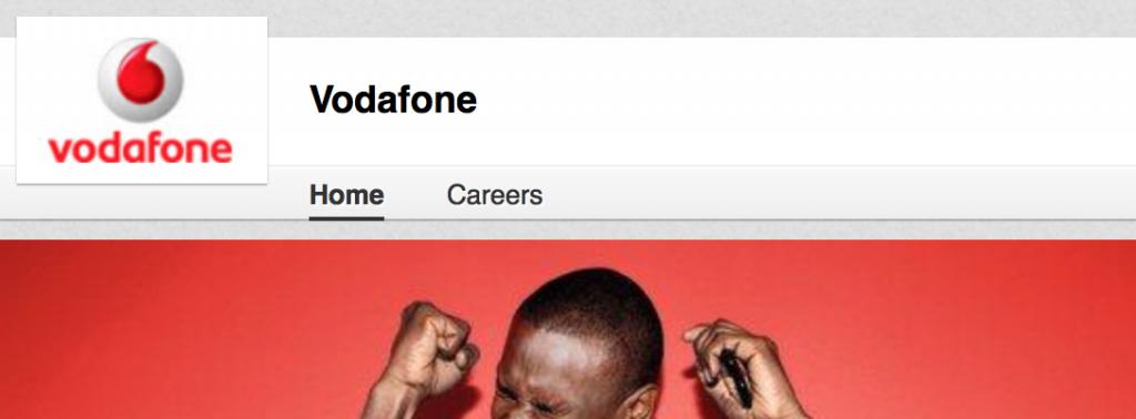 Pagina aziendale della Vodafone