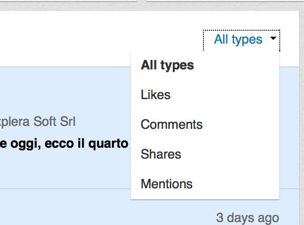 Filtro pagine linkedin notifications