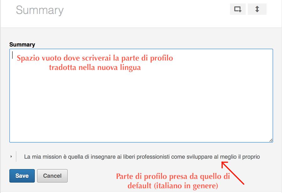 traduzione profilo linkedin