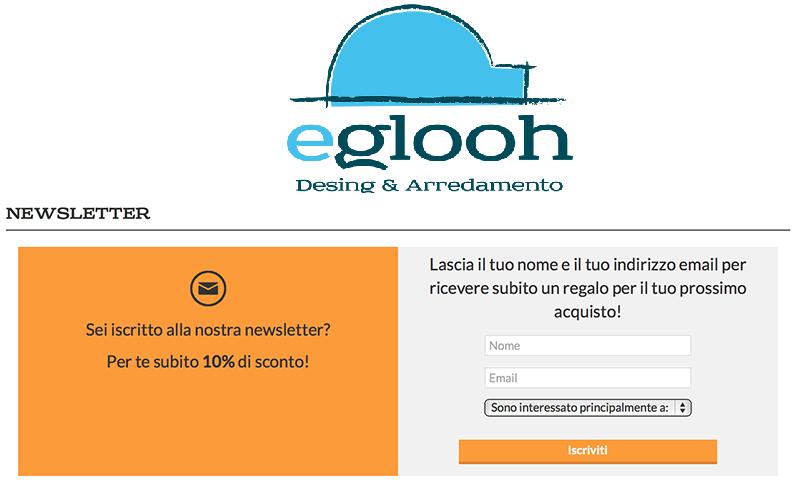 Newsletter negozio online Eglooh