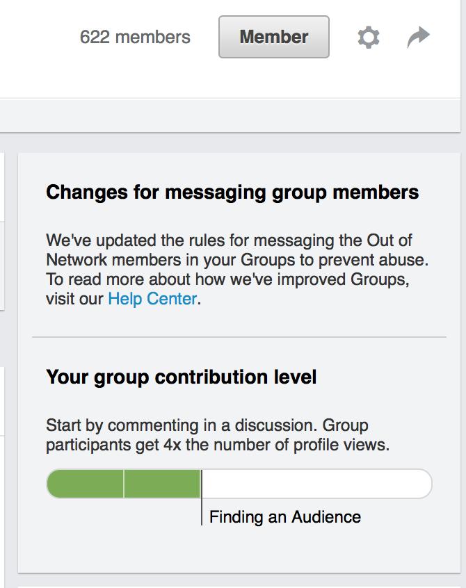 Livello di contribuzione al gruppo LinkedIn