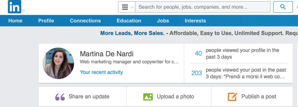Home page di LinkedIn
