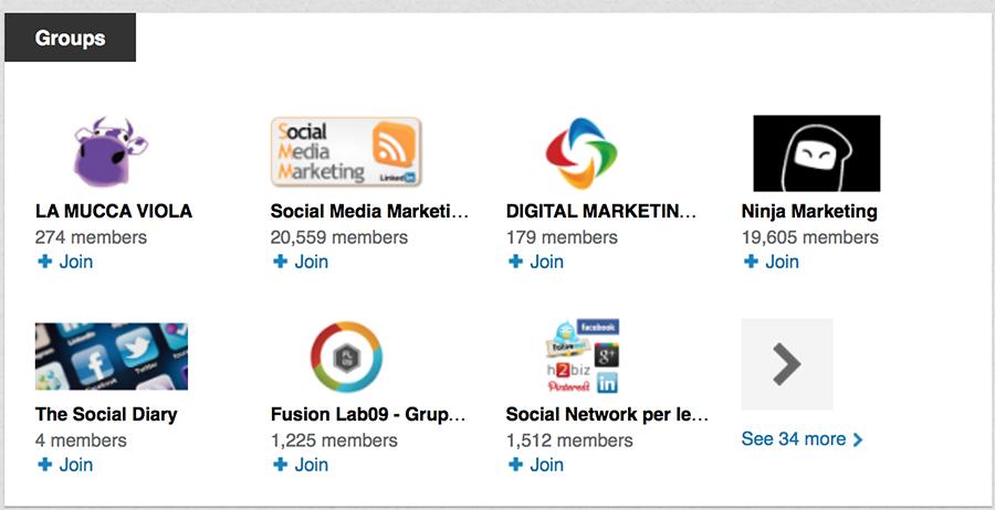 gruppi profilo LinkedIn