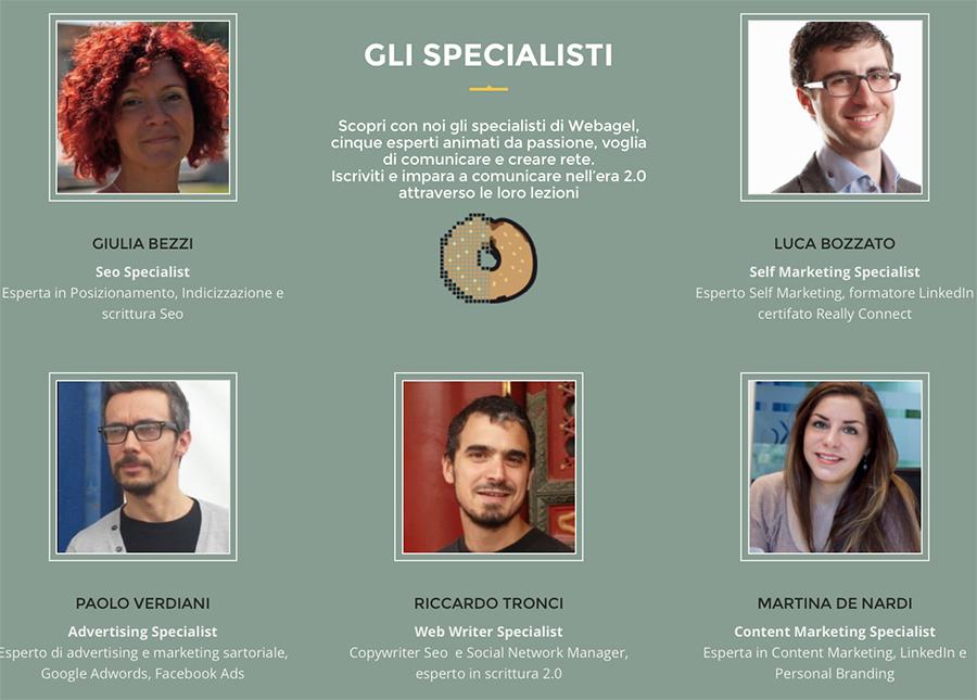 Gli specialisti dell'evento Webagel