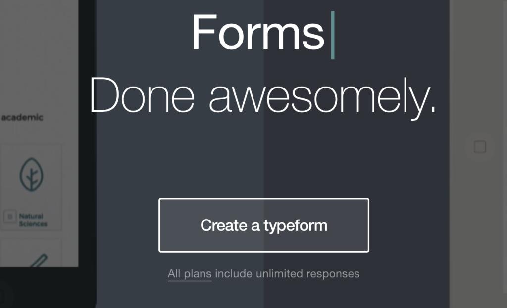 Home page di Typeform