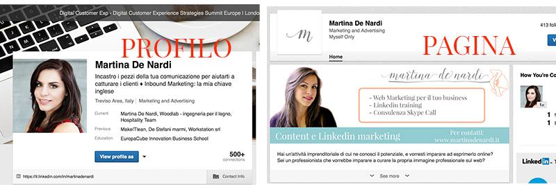 profilo e pagina LinkedIn