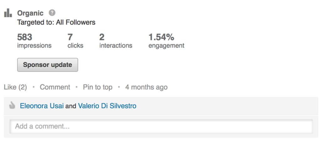 interazioni su post LinkedIn per le aziende