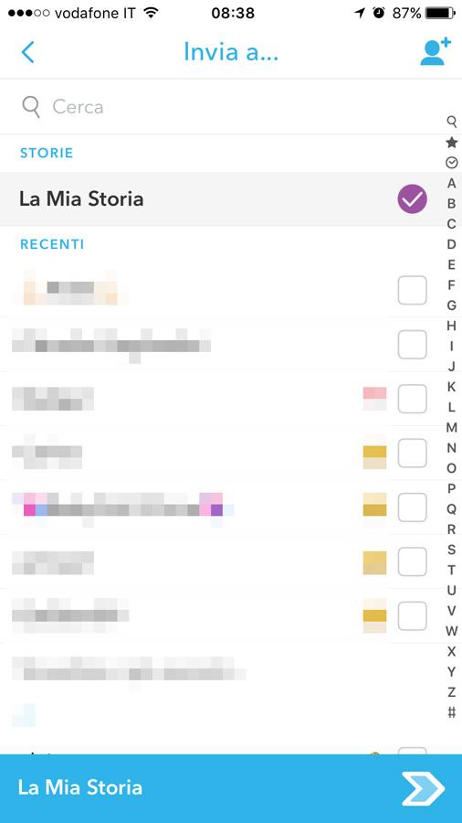 la mia storia di snapchat