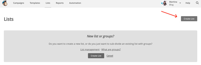 creare nuova lista su Mailchimp