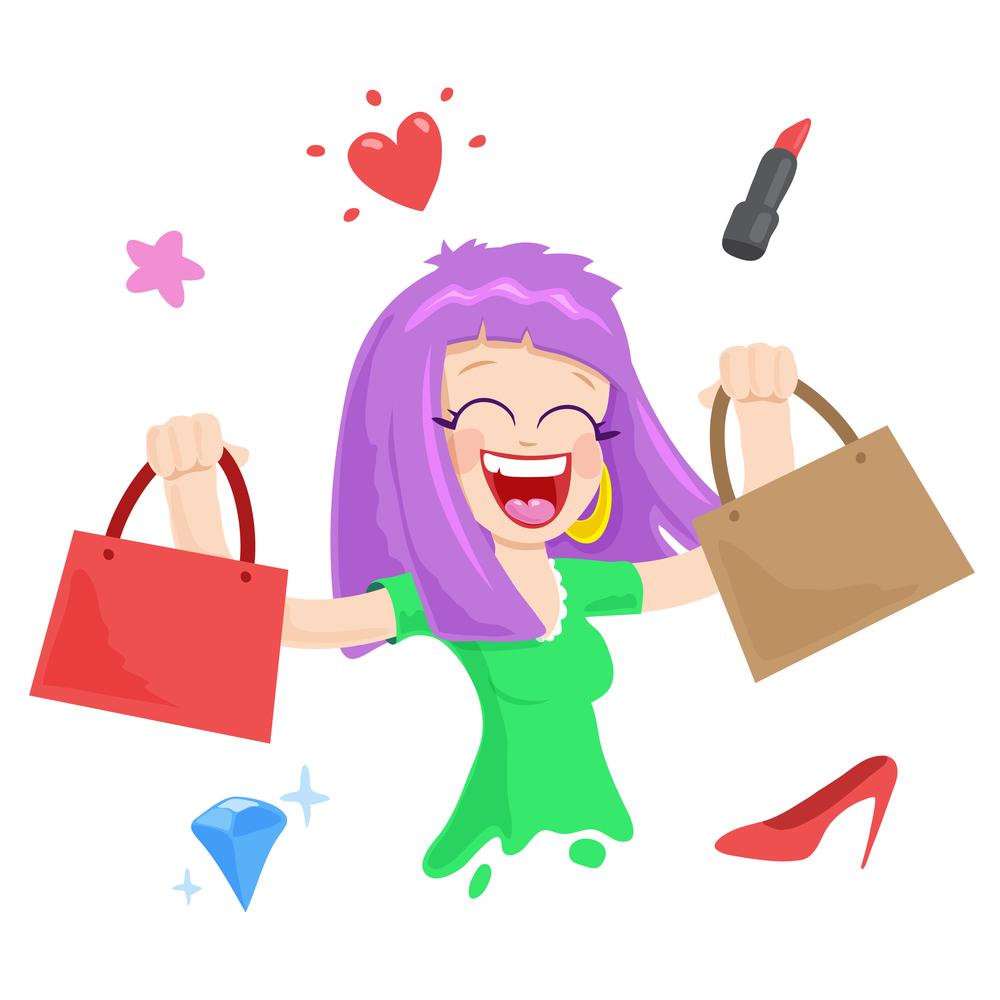 donna fumetto che fa shopping