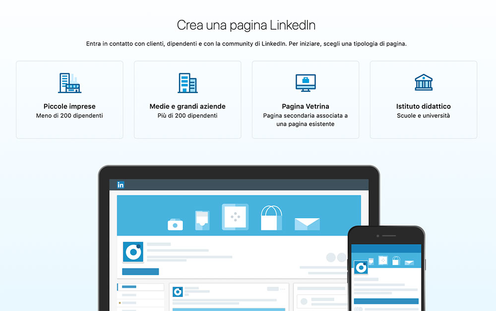 crea una pagina linkedin procedura
