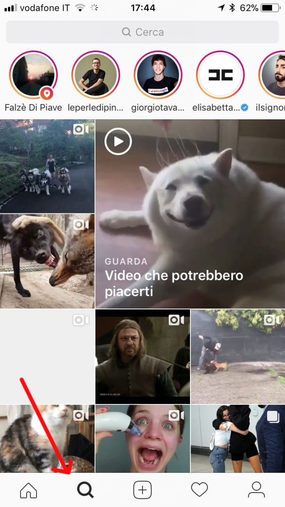 Sezione Esplora di Instagram Stories