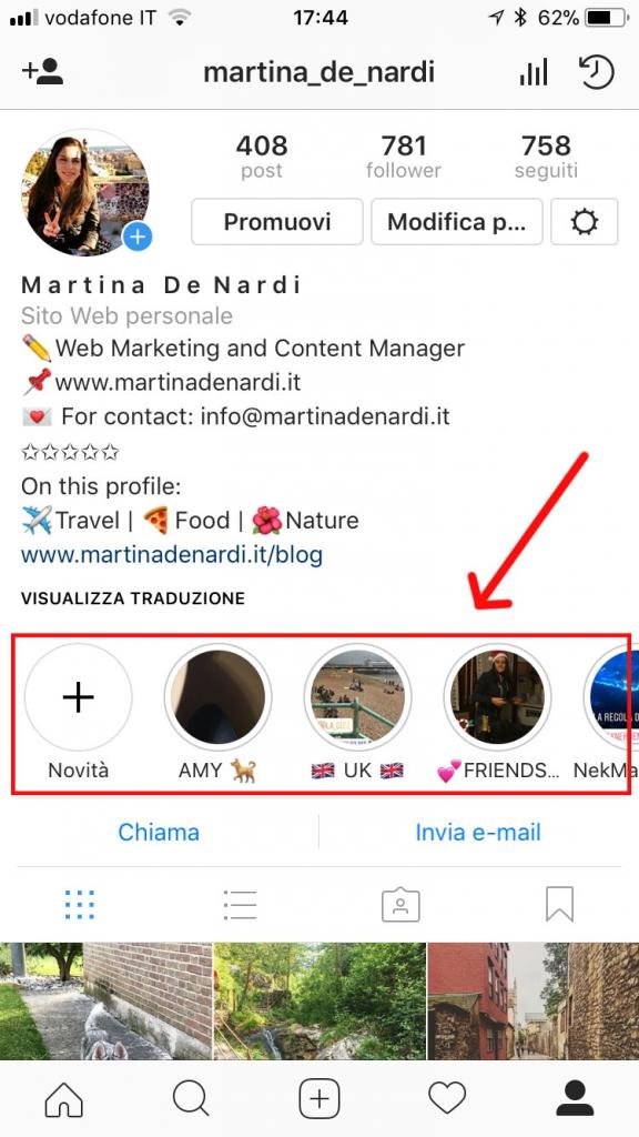 storie instagram in evidenza