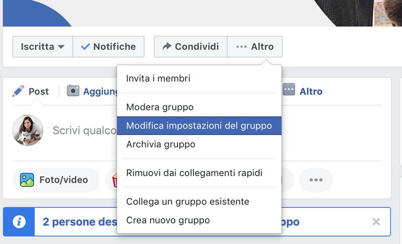 impostazioni del gruppo facebook