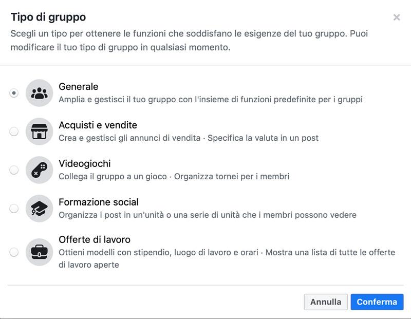 tipologia di gruppo facebook