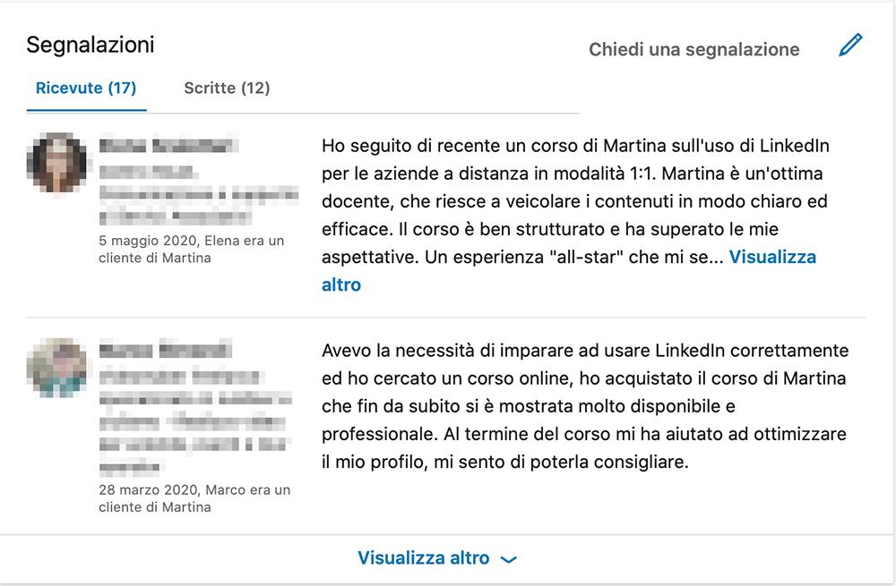 segnalazioni profilo linkedin