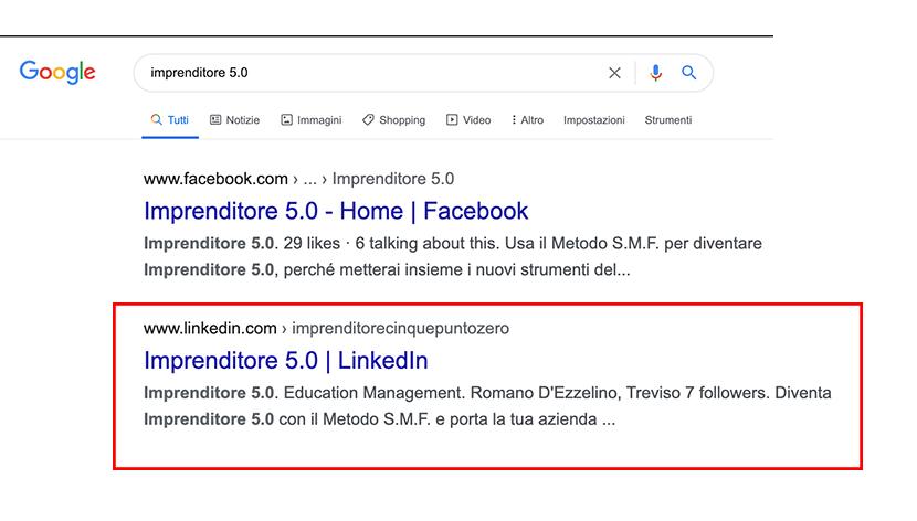 ricerca azienda su Google